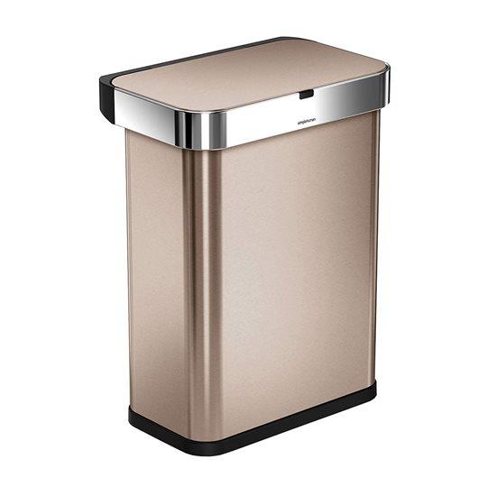 Cos de gunoi cu senzor 58 L inox, auriu - SimpleHuman
